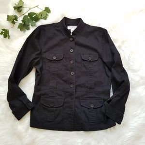 Jones New York Sport Black Cotton Utility Jacket L